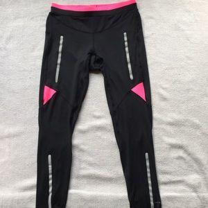 Ronhill reflective black/pink run tights size 8